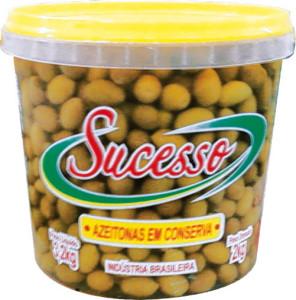 Azeitonas Verdes Com Caroço Sucesso Balde - 2kg